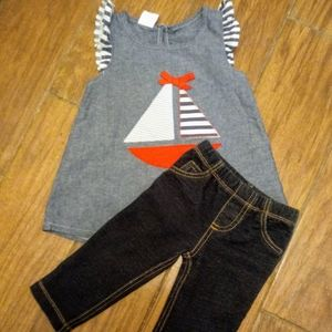 Size 2T girls sailboat outfit